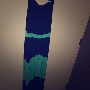 Teal and navy maxi dress